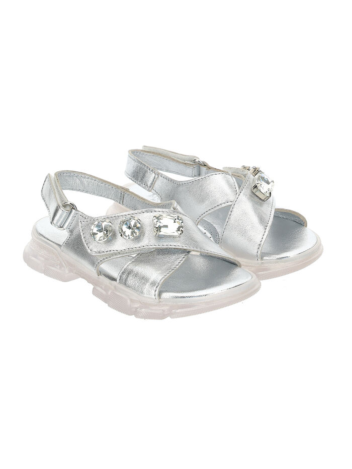 Laminated sandals w/jewel rhinestones