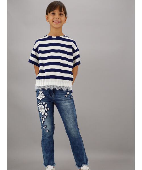Five-pocket jeans with embroidery