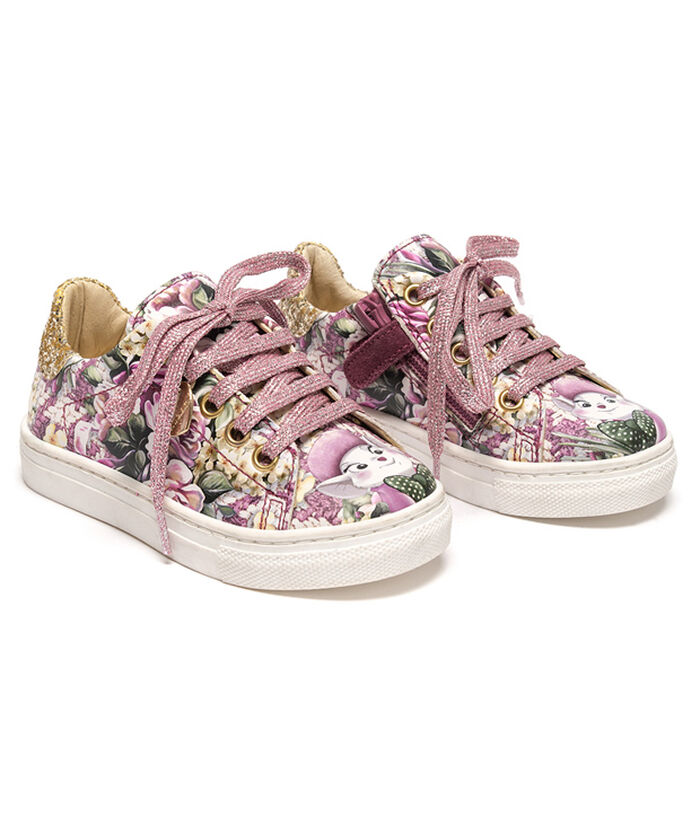 Eco-leather sneakers with cartoon prints