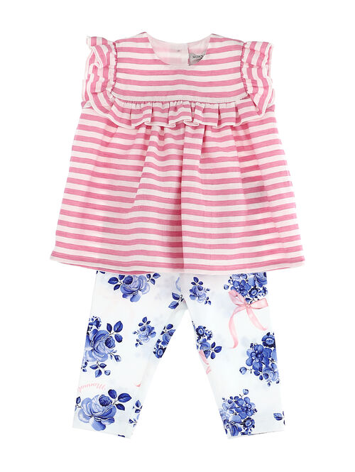 Two-piece outfit with stripes and flowers