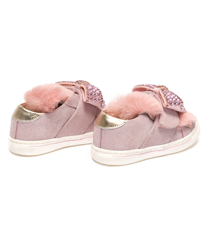 Suede sneakers with glitter details